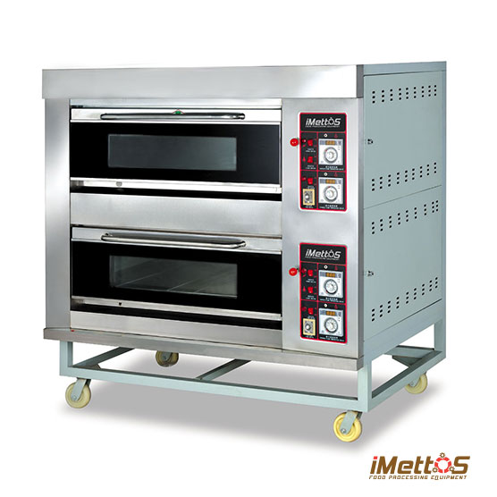 Imettos Bakery Equipment Commercial Ovens Gas Baking Oven 2 Layes 4 Trays With Gl Observation Self Controlled Fire To Ensure Even Temperature